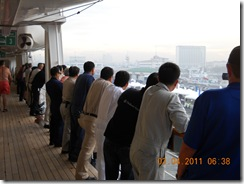 Crew watching as we enter Manila