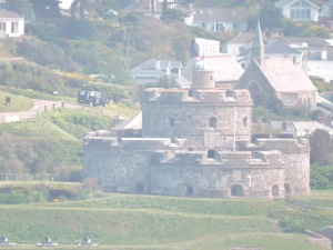St. Mawes viewed through the haze from Pendennis