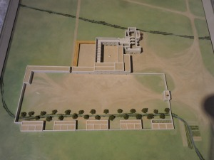 Model of the church and mission walls.