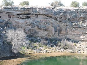 Ancient structurs on the well's walls