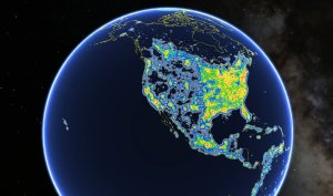 This view of North America as seen in Google Earth shows colored areas that denote levels of light pollution as detailed in the New World Atlas of Artificial Sky Brightness. Fabio Falchi et al./AAAS
