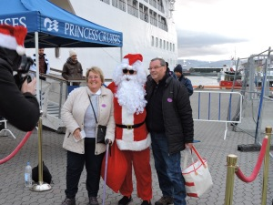 Santa Claus meets the ship in Longyearbyen