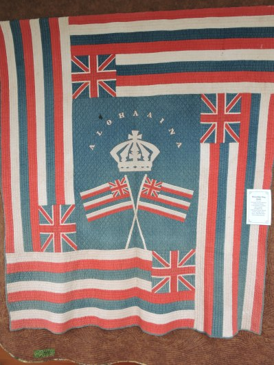 Hawaiian flag quilt, 1920s, given to Linda Sackett's grandparents by Walter and Grace Eklund