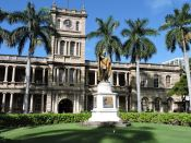 Kamehameha by Thomas Gould, 1883 in front of Hawaii Supreme Court