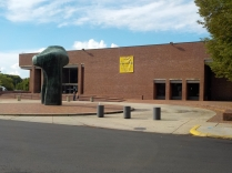 """Henry Moore's """"Large Arch"""" in front of I.M. Pei's Batholomew County Library"""