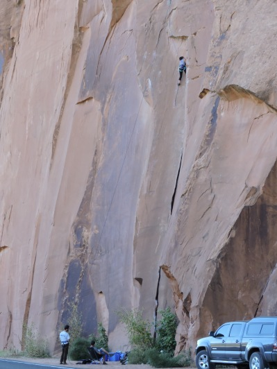 UT 279 's Wall Street Climbing Area attracts many rock climbers.