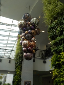 """""""Silvered Plum & Cobalt Polyvitro Float Chandelier"""" Chihuly developed a plastic that performs like glass."""