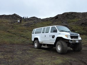 Our vehicle at fissure in Vatnajökull National Park