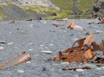Rusting pieces of the trawler Epine which wrecked in 1948.
