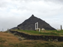 Sheep mowing the cemetery in Hellnar