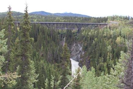 1910 Kuskulana Bridge 525 feet long, 238 feet above the river: Wrangell—St. Elias National Park