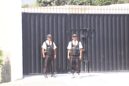 Guards by the entrance