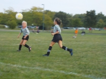 A great-great niece plays soccer at a Columbus park.