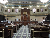 124 Members sit in the S.C. House of Representatives. The large center desk was made in 1937 from British Honduran mahogany.