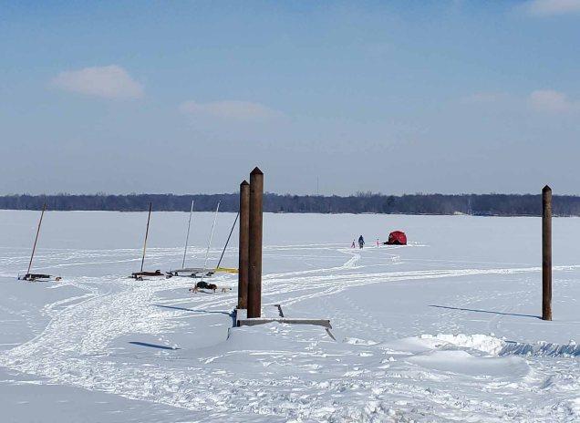 Ice sail boats and ice fishing on Alum Creek Lake.